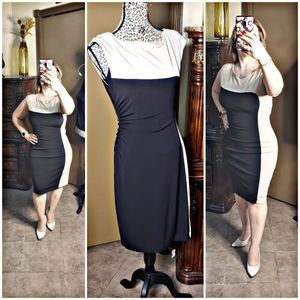 CONNECTED APPAREL BLACK TAN bodycDRESS colorblock